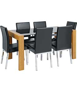 hygena fusion black glass oak dining table and hygena savannah