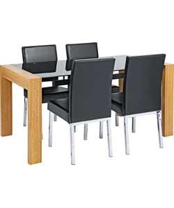 hygena fusion black oak finish dining table 4 hygena savannah