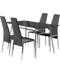 hygena javelin 120cm black dining table and 4 hygena black