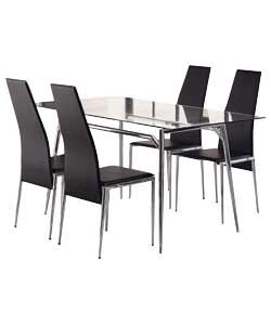 javelin 120cm glass dining table and 4