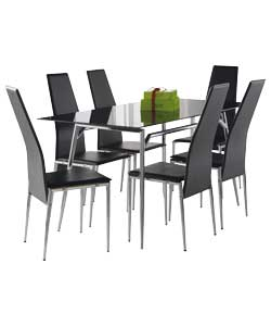 hygena javelin 150cm glass dining table and 6 hygena fusion
