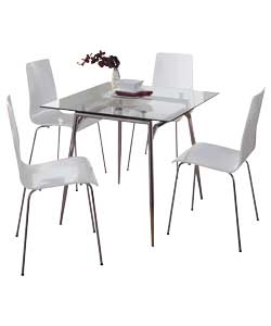 meteor clear glass dining table and 4