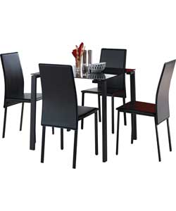 rennes black dining table and 4 black