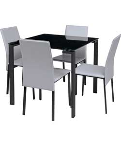 rennes black dining table and 4 white