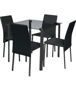 hygena rennes black dining table and 4 black