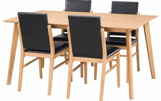 riley oak veneer dining table and 4 black
