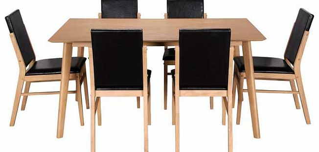 hygena dining tables and chairs : hygena riley oak veneer dining table and 6 black from www.comparestoreprices.co.uk size 652 x 310 jpeg 27kB
