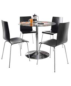 hygena ronda pedestal dining table and 4 black hygena black