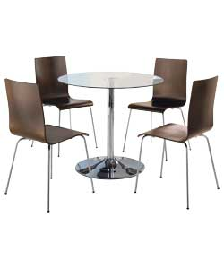 ronda pedestal dining table and 4 walnut