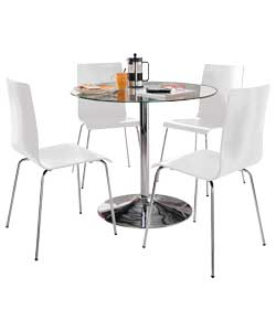ronda pedestal dining table and 4 white