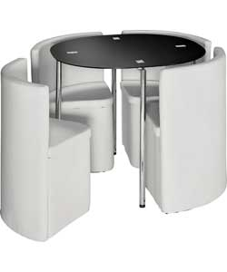 hygena round space saving white dining table and hygena white