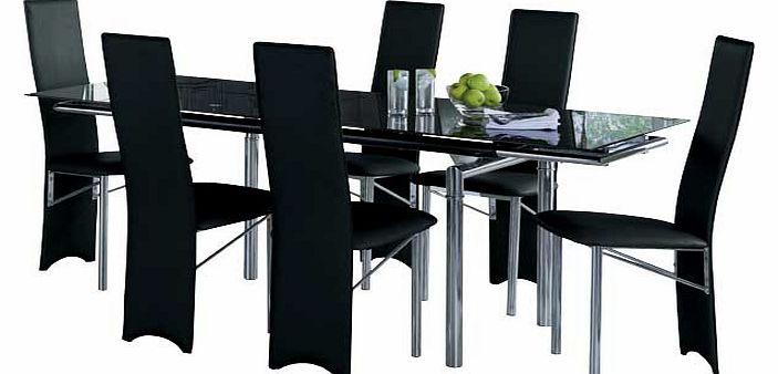 hygena savannah black glass dining table and 6 hygena black