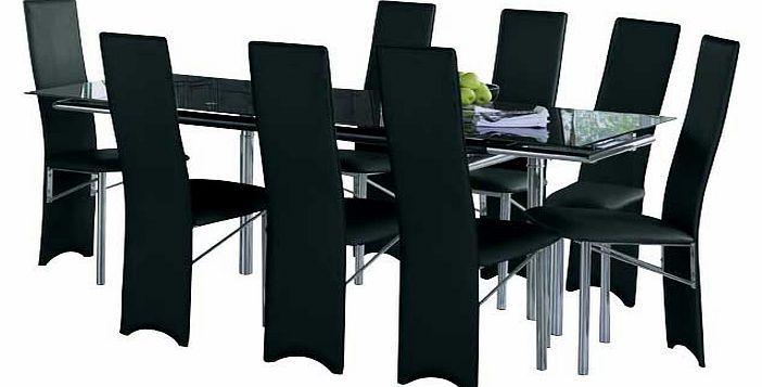 hygena savannah black glass dining table and 8 hygena savannah