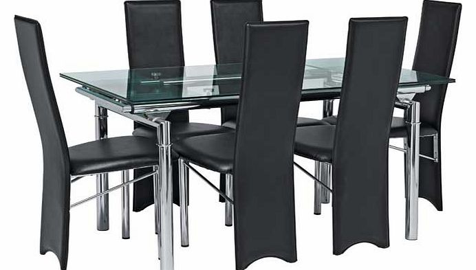 table and 4 chairs hygena savannah clear glass extendable dining