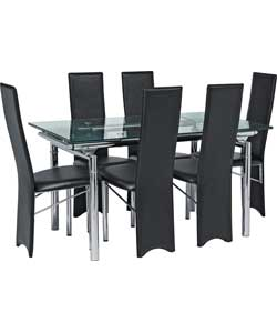 hygena savannah ext glass dining table and 6 hygena javelin