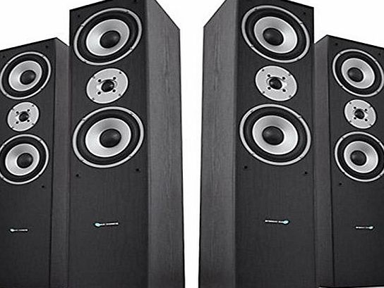 Hyundai Ash Black / Silver Home Hifi Cinema Theatre Surround Tower Speakers 1400W PMPO