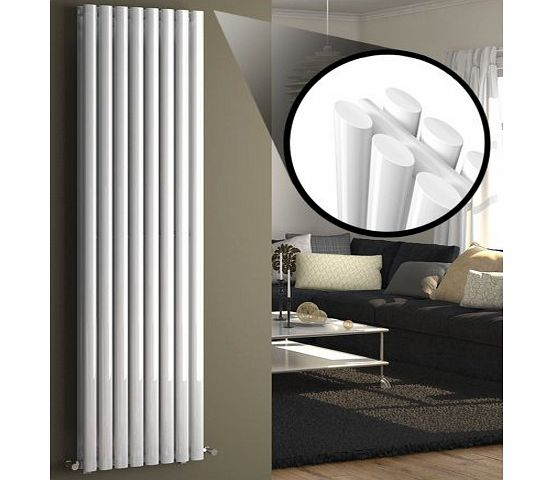 1800 x 480 mm Vertical Column Radiator White Oval Double Panel Luxury Heater