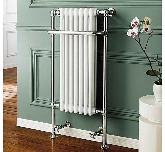 iBath Traditional White Radiator Heated Bathroom Chrome Towel Rail with 7 Columns RT10 product image