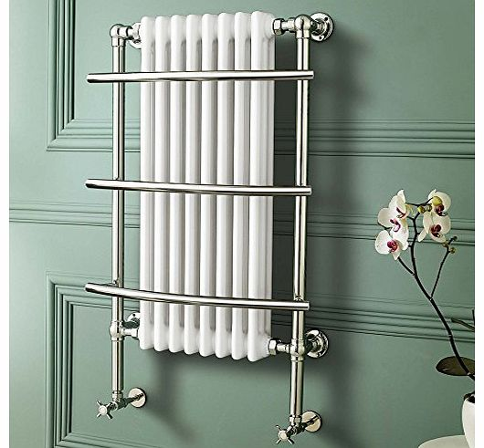 iBath Traditional White Radiator Heated Bathroom Chrome Towel Rail with 8 Columns RT09 product image