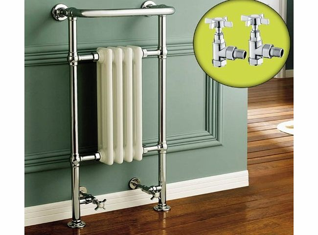 iBathUK Traditional White Radiator Heated Bathroom Chrome Towel Rail + Angled Valves Set product image
