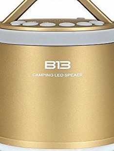 icase4u Brand New Outdoor Waterproof Bluetooth Speaker With LED Lamp Sport HIFI Wireless Portable Speakers MP3 FM TF Card Slot Hands-free Call Hiking Camping LED Lantern (gold)