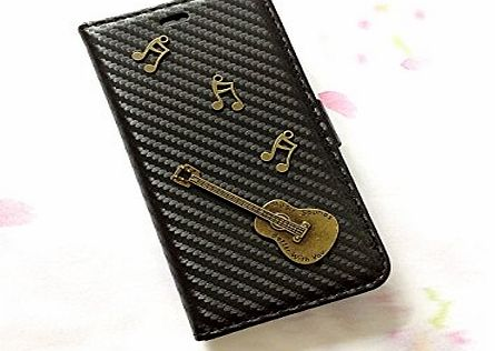 icasecollections Guitar carbon leather phone wallet case, handmade phone wallet cover for iPhone 6 6s Plus MN0324
