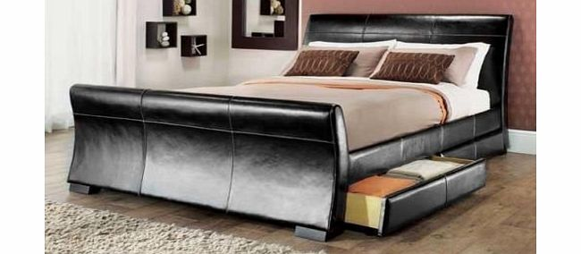 Reno storage - Black leather bed with drawers ...