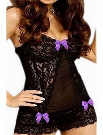 IDEAL Sexy lingerie underwear Babydoll Chemise Transparent Floral Accented Lace PURPLE Bow Flirty V Shape Neckline Teddy Dress Nightdress Nightie w/ G-string product image