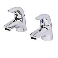 Chrome-plated brass basin pillar taps incorporating  - CLICK FOR MORE INFORMATION
