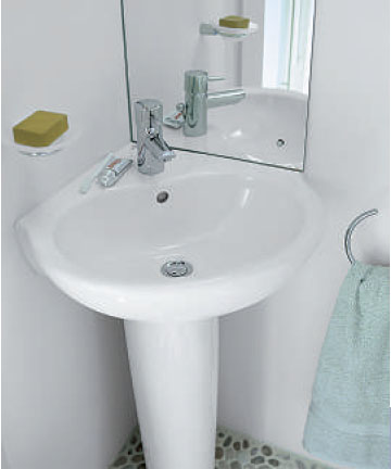Space Corner Basin with Pedestal