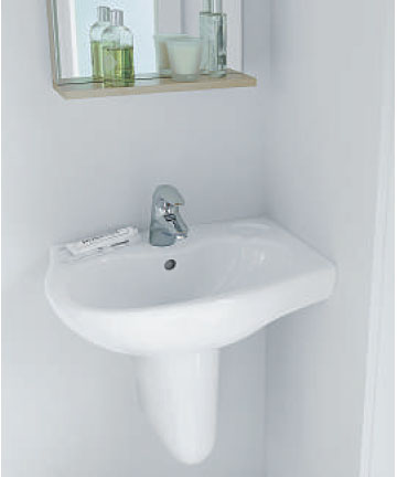 Space Offset Corner Basin with semi-pedestal