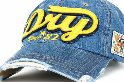 dff6bb1af46 Distressed Vintage Style Denim DRY Baseball Cap Pre-curved Bill and  Embroidery on Front and