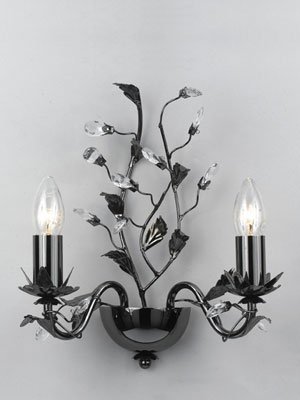 Impex Lighting Floral Modern Gun Metal And Crystal Double Wall Light - review, compare prices ...