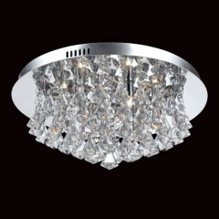 Impex Lighting Parma 6 Light Chrome Crystal Flush Ceiling Light