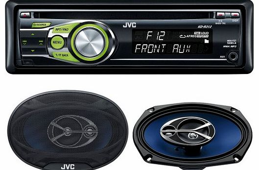 JVC KD-R312 CD/MP3 Player with Front Aux Input and JVC CS-V6946 6 x 9 inch 330 Watt 4-Way Speaker