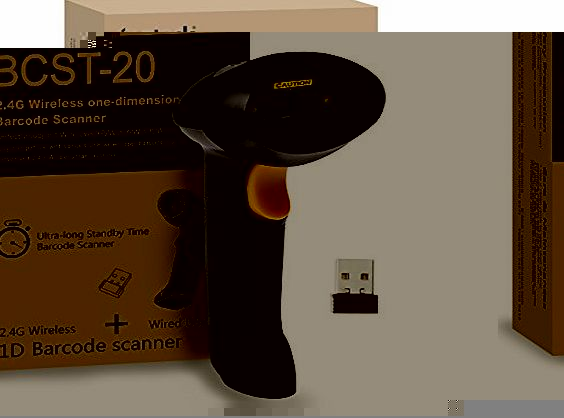 Inateck 2.4GHZ Handheld Wireless USB Automatic Laser Barcode Scanner (2.4GHZ Wireless amp; USB2.0 Wired) USB Rechargeable Barcode Bar-code Handscanner Storage of up to 2600 Code Entries, With Mini US product image