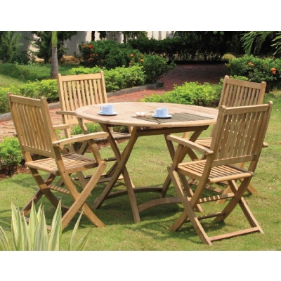 Round Teak Table and 4 Chairs