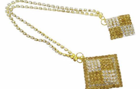Indianbeautifulart Gold Tone CZ Indian Chain Pin Brooch Party Wear Groom Broach Costume Jewellery