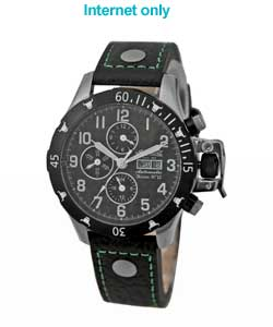 Ingersoll Watches Bison No12 IN2803BGR Mens Black leather with green s