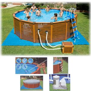 intex 16 8 x 49 sequoia spirit wood grain frame pool review compare prices buy online. Black Bedroom Furniture Sets. Home Design Ideas