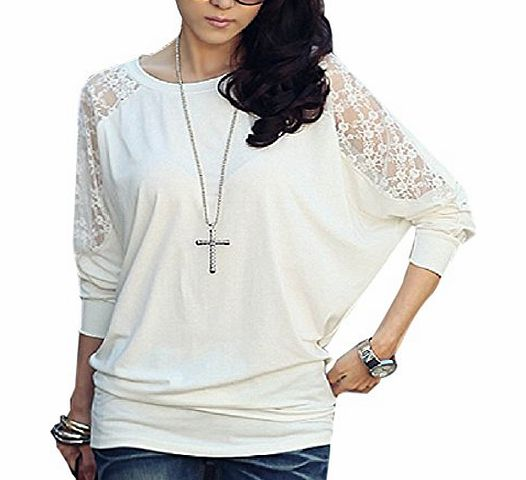 ISASSY Womens Ladies Stylish Sexy Hot Loose Batwing Dolman Lace Blouses Top T-shirt , Batwing Style, Long Sleeves, Loose Style product image