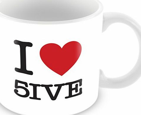 ITservices I Love 5ive Personalised Mug Gift (customise with any name, message, text, photo or colour) - Celebrity fan tribute