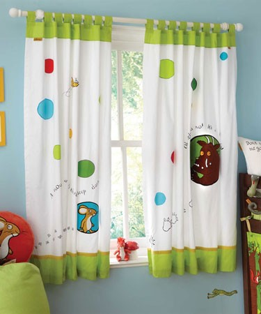 Pair of Gruffalo Themed Tab Top Curtains