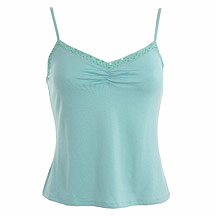 Aqua sequin trim camisole top