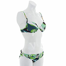 Green foliage print moulded cup bikini top