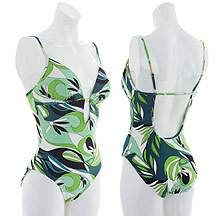 Green foliage print swimsuit