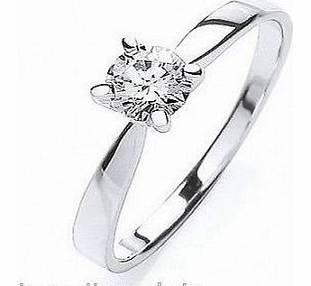423856-S Platinum Plated Sterling Silver 4mm Solitaire Ring Size S