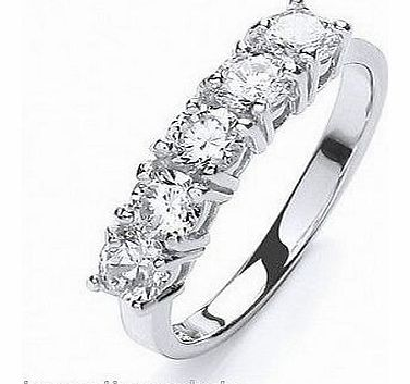 424406-P Platinum Plated Sterling Silver CZ Rounds Eternity Ring With Swarovski Elements Size P