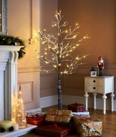 JayMark Christmas Pre Lit Twig 120 Led Floor Standing 7ft Outdoor Indoor Snowy Effect Tree 210cm - Warm White