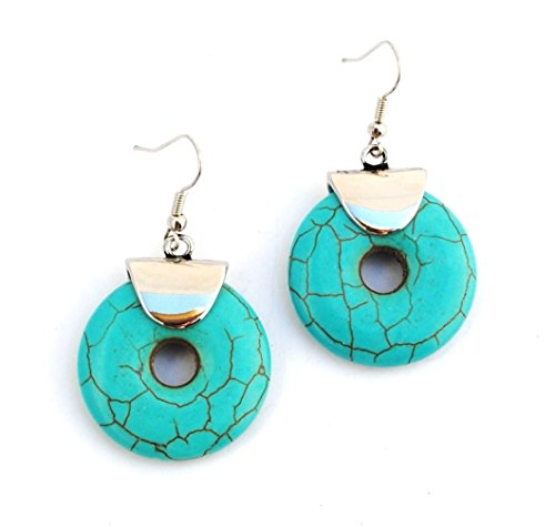 Designer Jewellery - Contemporary Turquoise Circle Droplet Earrings
